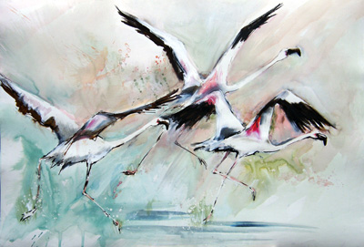 Flight In Green ~ Mixed Media On Paper ~ Frances Simpson